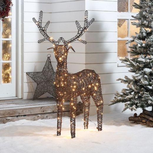 Ralph the 150cm Brown Rattan Christmas Reindeer