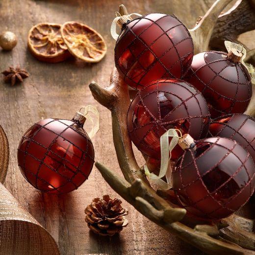 Christmas Rituals Set of 6 Matt Check Glass Baubles