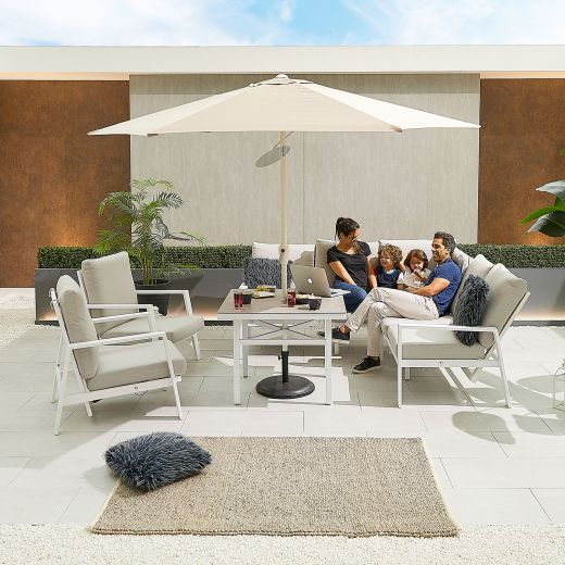 Compact Enna Aluminium Reclining Casual Dining Corner Sofa Set with Parasol Hole & Armchairs - White Frame