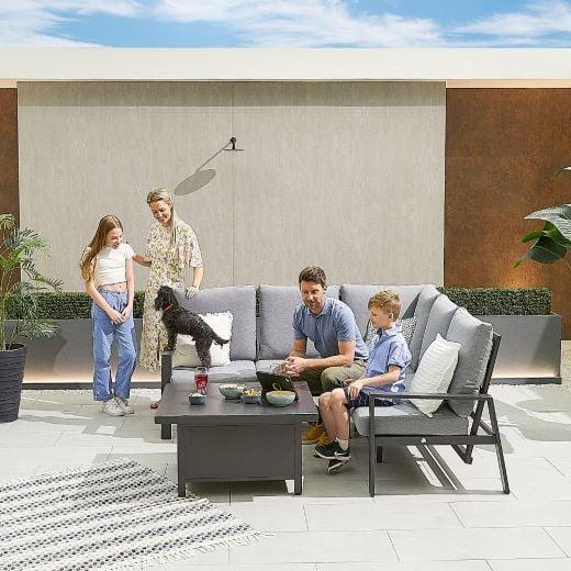 Compact Enna Aluminium Reclining Casual Dining Corner Sofa Set with Rising Table - Grey Frame