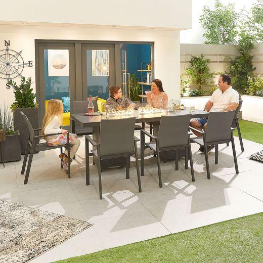 Roma 8 Seat Dining Set - 2m x 1m Rectangular Firepit Table - Grey Frame