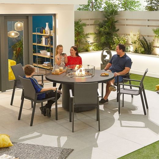 Roma 6 Seat Dining Set - 1.5m Round Firepit Table - Grey Frame