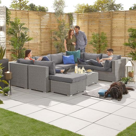 Chelsea 2A Rattan Corner Sofa Set - White Wash