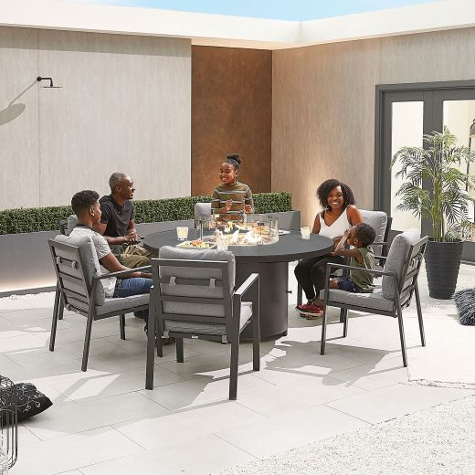 Enna 6 Seat Dining Set - 1.5m Round Firepit Table - Grey Frame