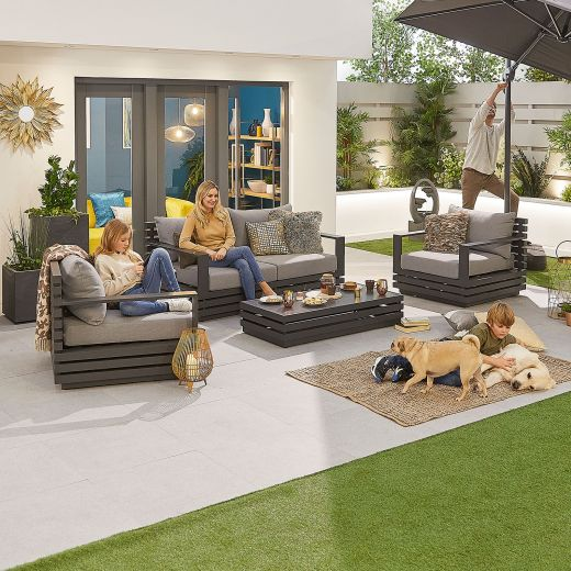 San Marino Aluminium 2 Seat Sofa Set - Grey Frame