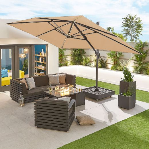 Galaxy 4m x 3m Rectangular Cantilever Parasol with LED Lights - Beige