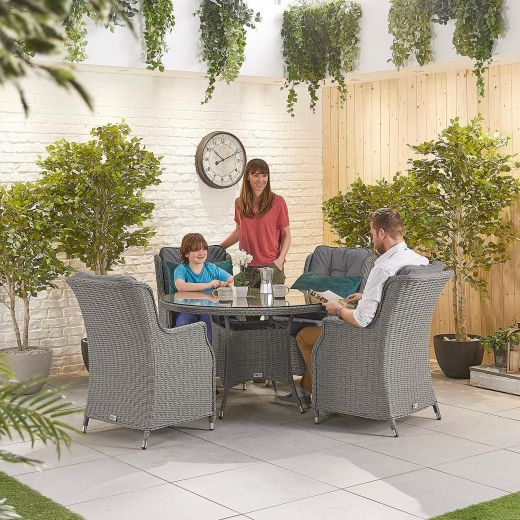 Thalia 4 Seat Dining Set - 1.2m Round Table - Slate Grey