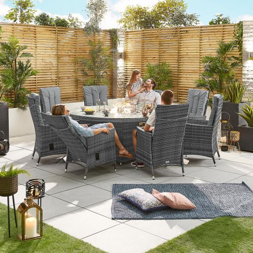 Ruxley 8 Seat Dining Set - 1.8m Round Firepit Table - Grey