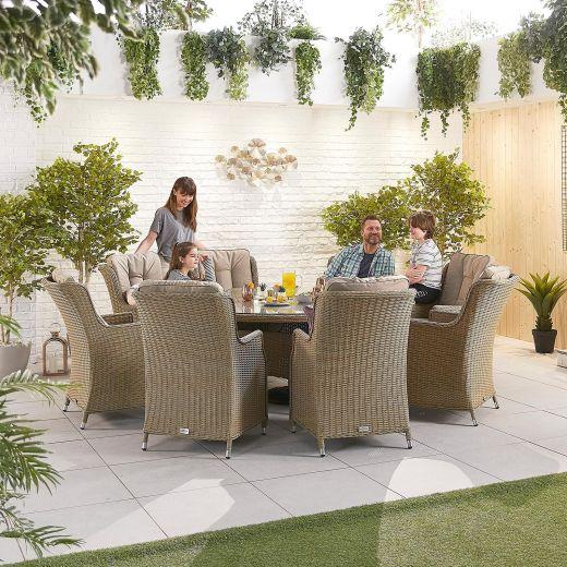 Thalia 8 Seat Dining Set - 1.8m Round Table - Willow