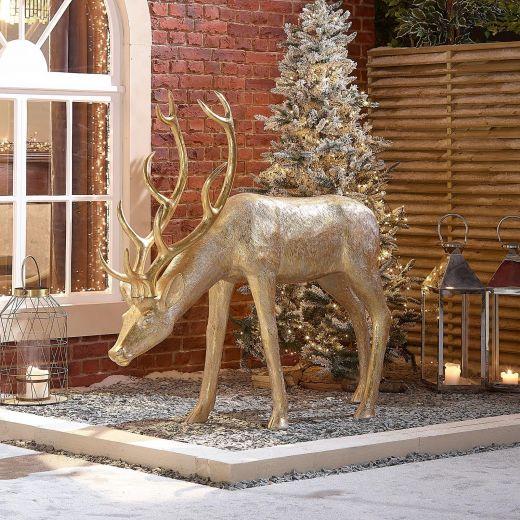 Precious the 161cm Gold Feeding Christmas Reindeer