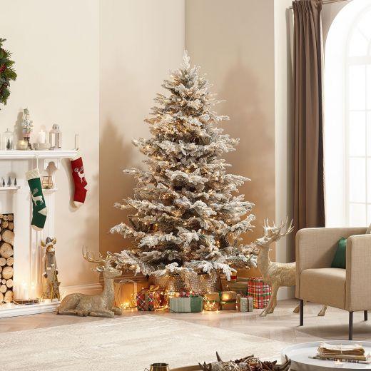 8ft Pre-Lit Snowy Concolor Fir Artificial Christmas Tree