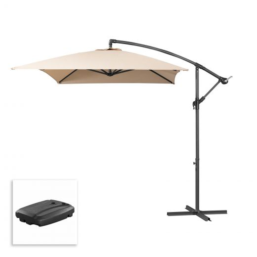 Barbados 3m x 2m Rectangular Cantilever Parasol with 60L Cantilever Base - Beige