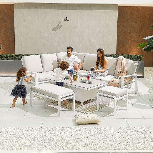 Enna Left Hand Aluminium Reclining Casual Dining Corner Sofa Set with Rising Table & Bench & Footstool - White Frame