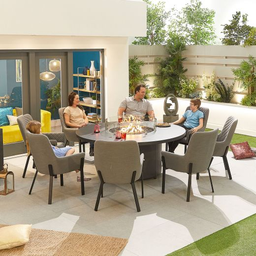 Genoa Outdoor Fabric 8 Seat Round Dining Set with Firepit Table - Light Grey