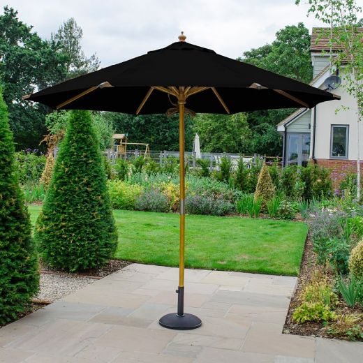 Dominica Deluxe 3m Round Wooden Parasol - Double Pulley Operated - Black