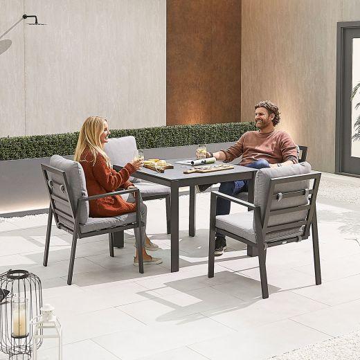 Enna 4 Seat Dining Set - 90cm Square Table - Grey Frame