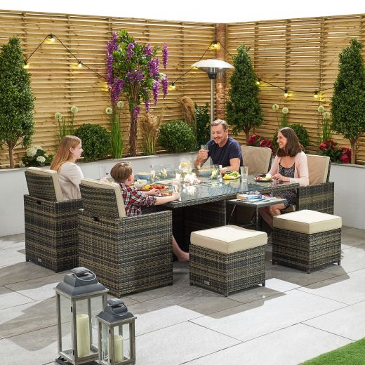 Celia 4 Seat Deluxe Cube Set with Firepit Table & Ice Bucket - Brown