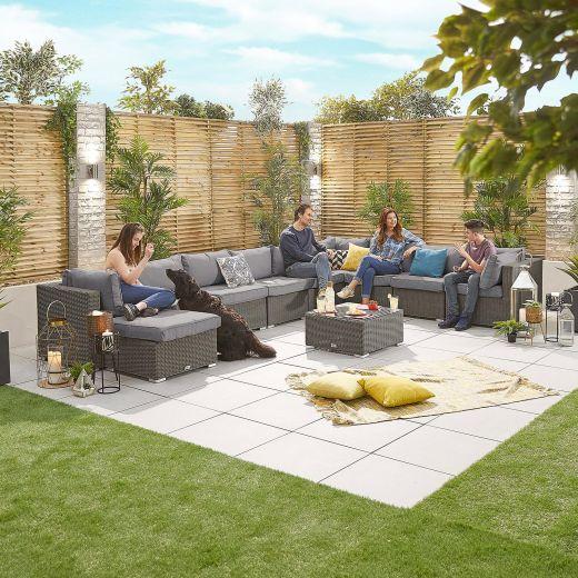 Chelsea 3A Rattan Corner Sofa Set - Slate Grey