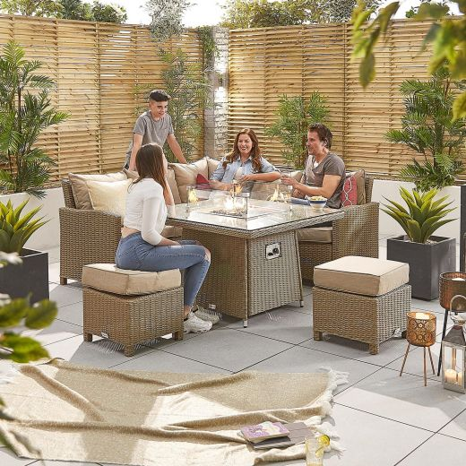 Compact Ciara Casual Dining Corner Sofa Set with Firepit Table - Willow