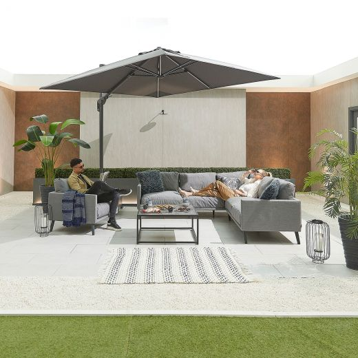 Bliss Outdoor Fabric Corner Sofa Set with Coffee Table & Lounge Chair - Light Grey