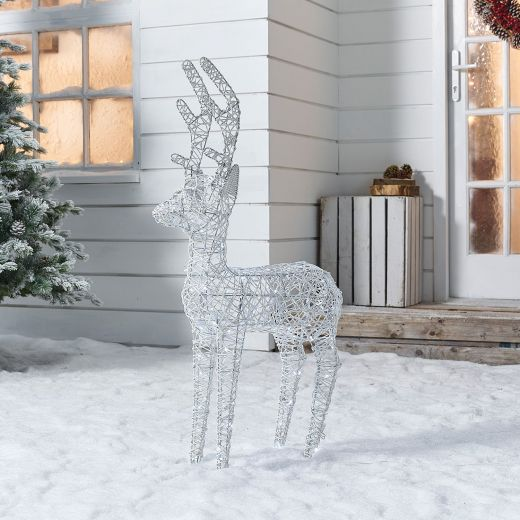 Ralph the 100cm White Rattan Christmas Reindeer