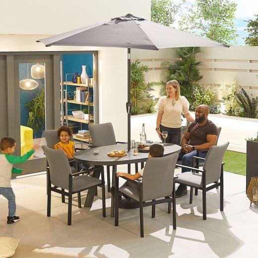 Hugo Outdoor Fabric 6 Seat Oval Dining Set - Light Grey