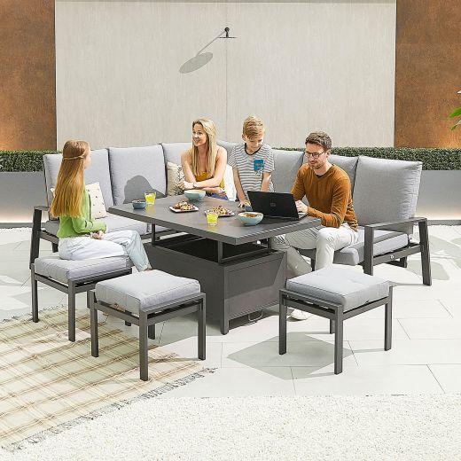 Enna Left Hand Aluminium Reclining Casual Dining Corner Sofa Set with Rising Table & Footstools - Grey Frame