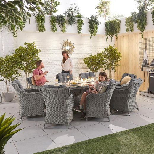 Camilla 8 Seat Dining Set - 2.3m x 1.2m Oval Firepit Table - White Wash