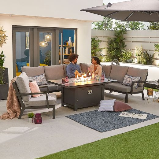 Vogue Aluminium Casual Dining Corner Sofa Set with Firepit Table & Armchair - Grey Frame