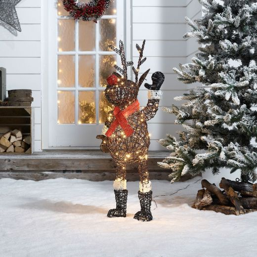 Standing Rudolph the 100cm Brown Rattan Christmas Reindeer