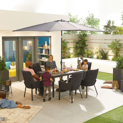 Genoa Outdoor Fabric 6 Seat Rectangular Dining Set - Dark Grey