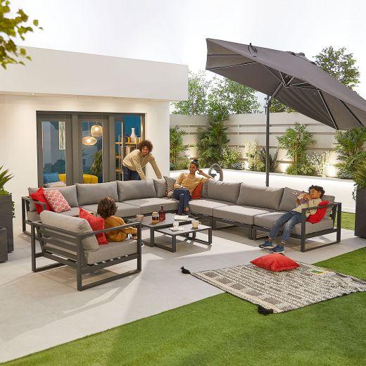 Alessandria Deluxe Aluminium Corner Sofa Set with Armchair