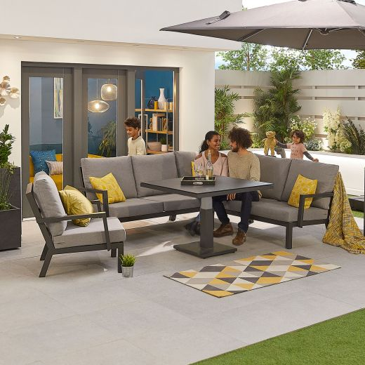 Compact Vogue Aluminium Casual Dining Corner Sofa Set with Rising Table & Armchair - Grey Frame
