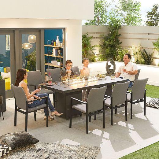 Hugo Outdoor Fabric 8 Seat Rectangular Dining Set with Firepit - Light Grey