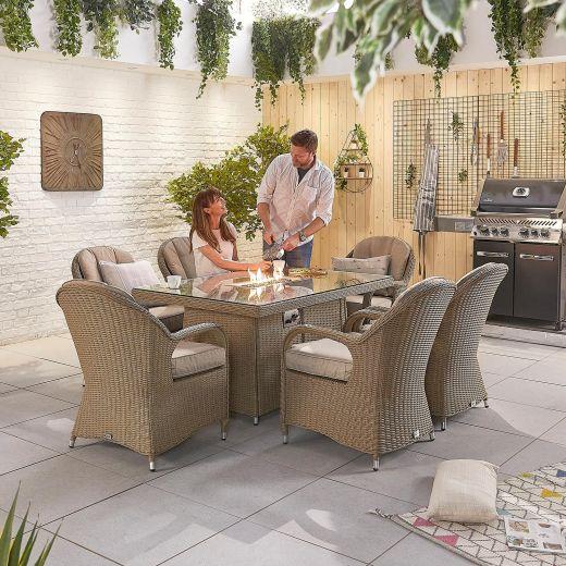 Leeanna 6 Seat Dining Set - 1.5m x 1m Rectangular Firepit Table - Willow