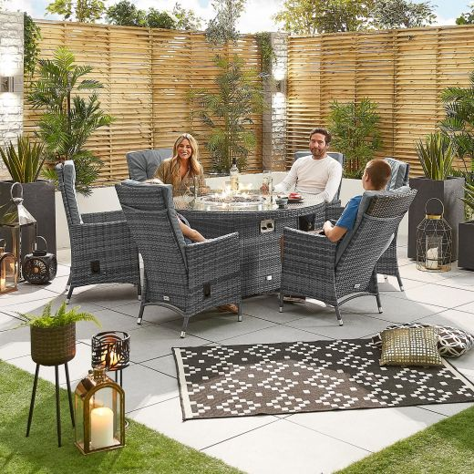 Ruxley 6 Seat Dining Set - 1.5m Round Firepit Table - Grey