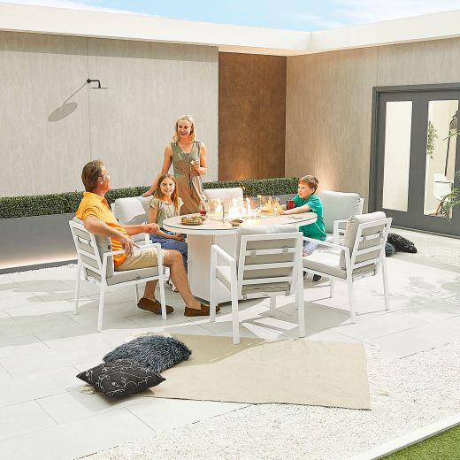 Enna 6 Seat Dining Set - 1.6m x 1m Oval Firepit Table - White Frame