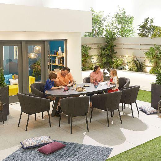 Edge Outdoor Fabric 8 Seat Oval Dining Set - Dark Grey