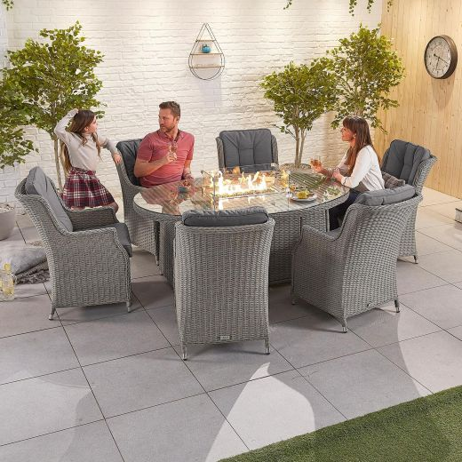 Thalia 6 Seat Dining Set - 1.8m x 1.2m Oval Firepit Table - White Wash
