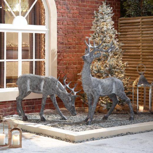 The Medium Grey Christmas Reindeer Duo