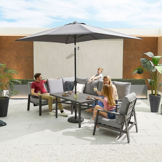 Enna Left Hand Aluminium Reclining Casual Dining Corner Sofa Set with Parasol Hole & Armchair - Grey Frame