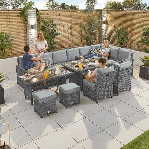 Deluxe Extending Cambridge Right Hand Casual Dining Corner Sofa Set - Grey