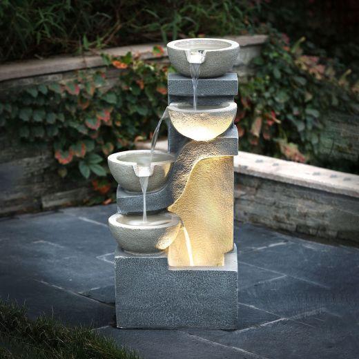 Phaidra Water Feature - Light Grey