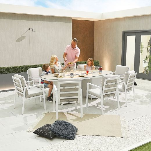 Enna 8 Seat Dining Set - 2.3m x 1.1m Oval Firepit Table - White Frame