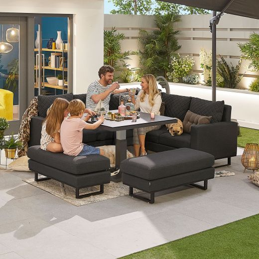 Compact Eclipse Outdoor Fabric Casual Dining Set with Benches and Rising Table - Dark Grey