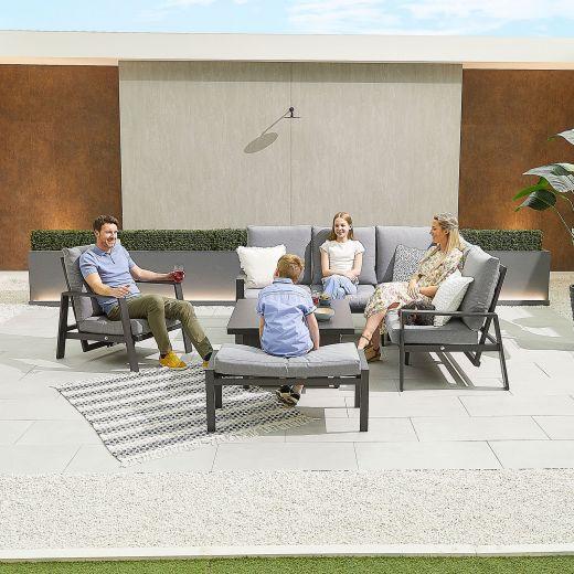 Compact Enna Aluminium Reclining Casual Dining Corner Sofa Set with Rising Table & Armchair & Bench - Grey Frame