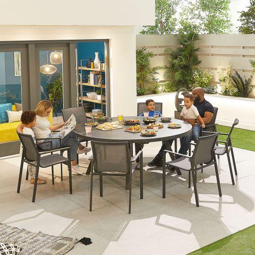 Milano 8 Seat Dining Set - 1.8m Round Table - Grey Frame