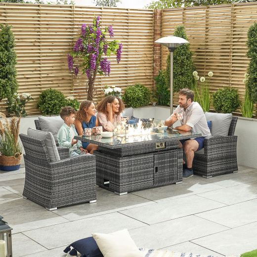 Cambridge 3 Seat Casual Dining Sofa Set with Rising Firepit Table - Grey