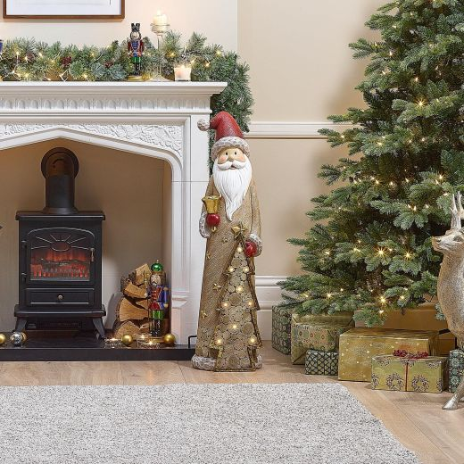 Santa the 102cm Father Christmas with LED Gold Tree