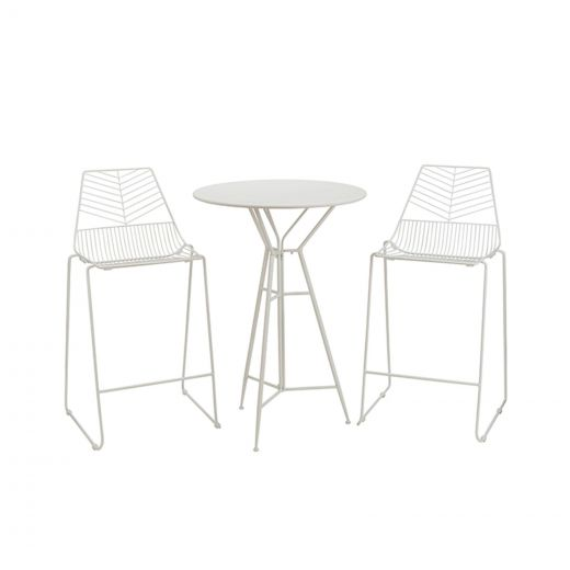 Messina 2 Seat Bar Set - 70cm Round Table - White
